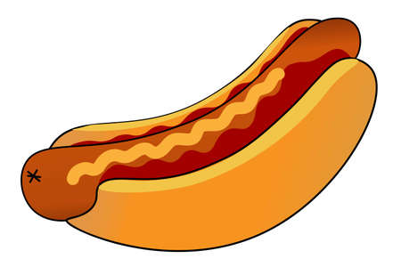 Hot Dog with ketchup and mustard. Template for background, banner, card, poster. Vector EPS10 illustration. 일러스트
