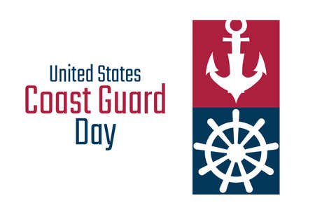 Coast Guard Day. August 4. Holiday concept. Template for background, banner, card, poster with text inscription. Vector EPS10 illustration.