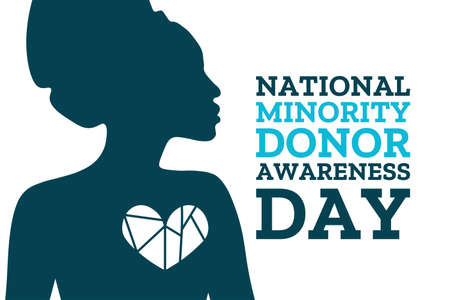 National Minority Donor Awareness Day. August 1. Holiday concept. Template for background, banner, card, poster with text inscription.