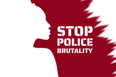 Stop police brutality concept. Template for background, banner, poster with text inscription. Vector EPS10 illustration.