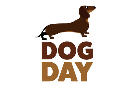 National Dog Day. August 26. Holiday concept. Template for background, banner, card, poster with text inscription. Vettoriali