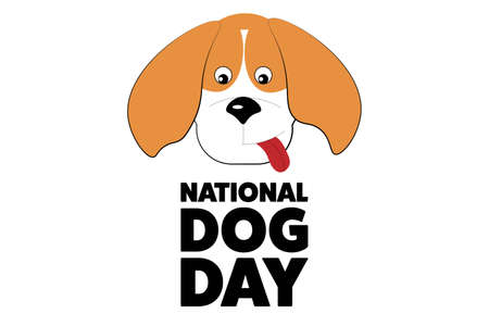National Dog Day. August 26. Holiday concept. Template for background, banner, card, poster with text inscription. Vector EPS10 illustration.