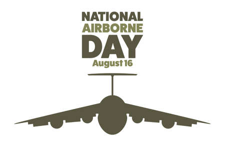 National Airborne Day. August 16. Holiday concept. Template for background, banner, card, poster with text inscription.