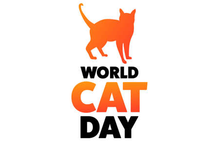 World Cat Day. August 8. Holiday concept. Template for background, banner, card, poster with text inscription. Vector EPS10 illustration.
