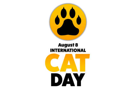 International Cat Day. August 8. Holiday concept. Template for background, banner, card, poster with text inscription. Vector EPS10 illustration.