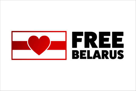 Inscription Free Belarus. Concept of protests in Belarus. Template for background, banner, card, poster with text inscription.