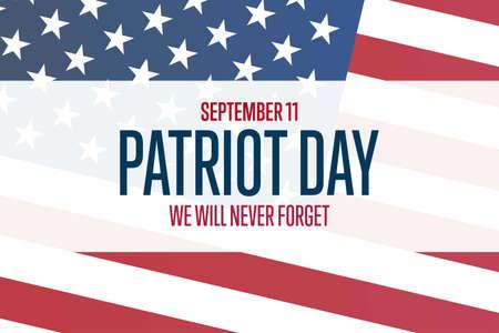 Patriot Day. September 11. Template for background, banner, card, poster with text inscription. Vektoros illusztráció