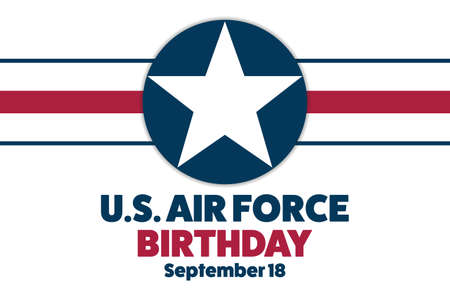 U.S. Air Force Birthday. September 18. Holiday concept. Template for background, banner, card, poster with text inscription. Vector illustration. Vektorové ilustrace
