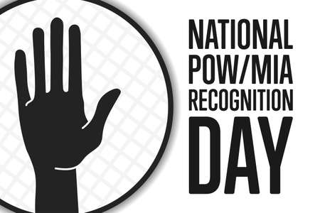 National POW, MIA Recognition Day. Holiday concept. Template for background, banner, card, poster with text inscription. Vector illustration. Ilustração