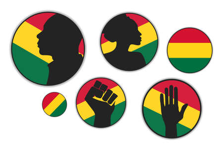 Set of different silhouettes of African American people with red, yellow, green flag on the background. Ilustração