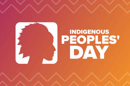 Indigenous Peoples Day. Holiday concept. Template for background, banner, card, poster with text inscription. Vector EPS10 illustration. Ilustração
