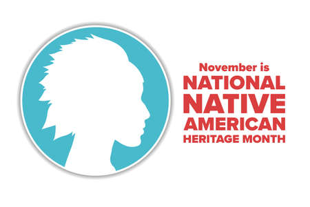 November is National Native American Heritage Month. Holiday concept. Template for background, banner, card, poster with text inscription. Vector EPS10 illustration. Ilustração