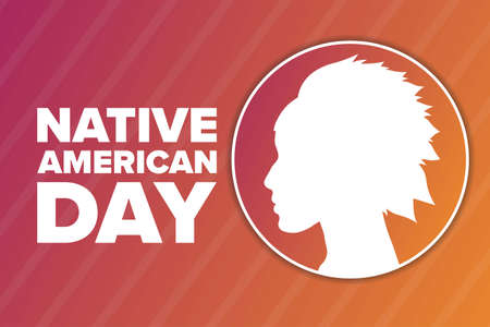 Native American Day. Holiday concept. Template for background, banner, card, poster with text inscription. Vector EPS10 illustration. Ilustração