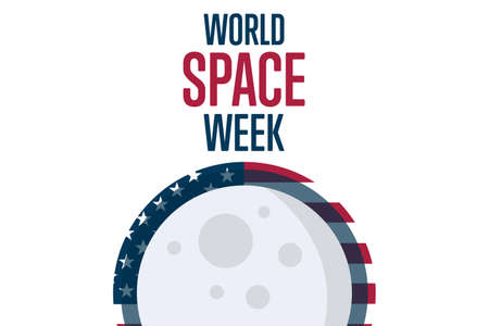 World Space Week. Holiday concept. Template for background, banner, card, poster with text inscription. Vector EPS10 illustration.