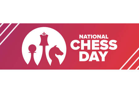 National Chess Day. Holiday concept. Template for background, banner, card, poster with text inscription. Vector illustration. Ilustração