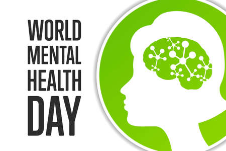 World Mental Health Day. Holiday concept. Template for background, banner, card, poster with text inscription. Vector illustration.
