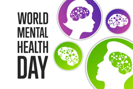 World Mental Health Day. Holiday concept. Template for background, banner, card, poster with text inscription.