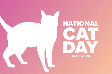National Cat Day. October 29. Holiday concept. Template for background, banner, card, poster with text inscription. Vector illustration.