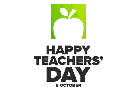 World Teachers Day. 5 October. Holiday concept. Template for background, banner, card, poster with text inscription. Vector illustration.