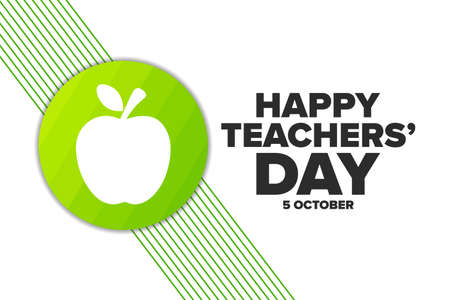 World Teachers Day. 5 October. Holiday concept. Template for background, banner, card, poster with text inscription.