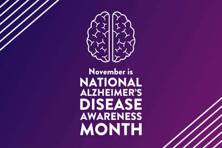 November is National Alzheimers Disease Awareness Month. Holiday concept. Template for background, banner, card, poster with text inscription.