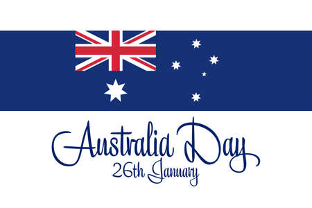 Happy Australia Day. January 26. Holiday concept. Template for background, banner, card, poster with text inscription. Vector EPS10 illustration.