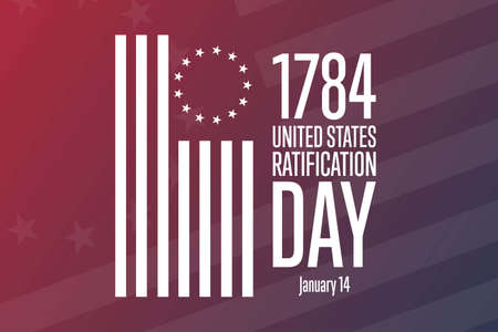Ratification Day in United States. January 14, 1784. Holiday concept. Template for background, banner, card, poster with text inscription. Vector illustration.