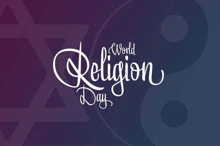 World Religion Day. The third Sunday in January. Holiday concept. Template for background, banner, card, poster with text inscription. Vector illustration.