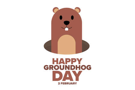 Happy Groundhog Day. 2 February. Holiday concept.