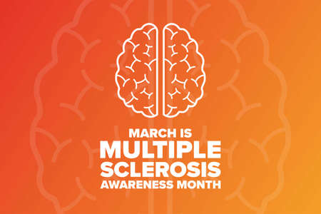 March is Multiple Sclerosis Awareness Month. Holiday concept. Template for background, banner, card, poster with text inscription. Vector illustration.