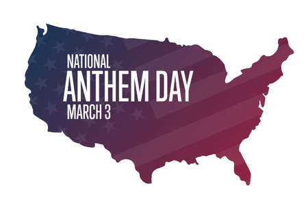 National Anthem Day. March 3. Holiday concept. Template for background, banner, card, poster with text inscription. Vector illustration.
