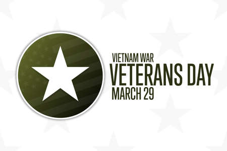 National Vietnam War Veterans Day. March 29. Holiday concept. Template for background, banner, card, poster with text inscription. Vector EPS10 illustration.