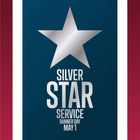 Silver Star Service Banner Day. May 1. Holiday concept. Template for background, banner, card, poster with text inscription. Vector EPS10 illustration.