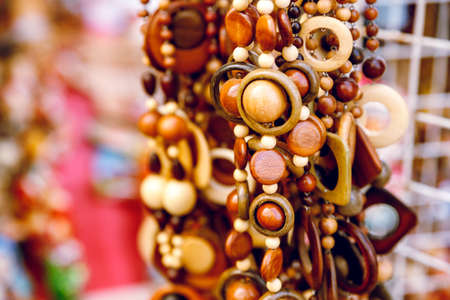 beads made of wood. Close-up. Brightly. Stock fotó