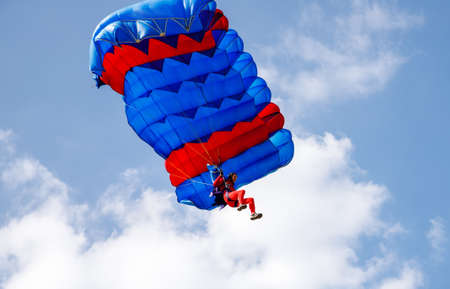 Skydiver soars in the blue sky. Acceptance
