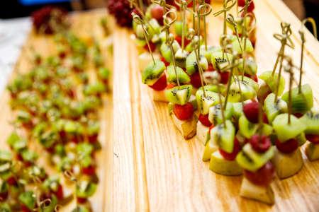 Buffet reception fruit, wedding close-up
