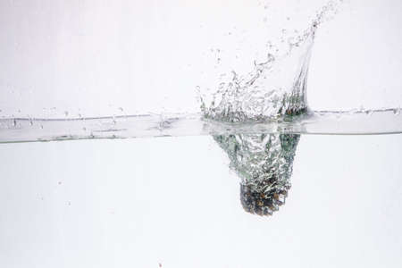 Water Splash Photography: a conifer cone falling in water creating a large splash on a white background