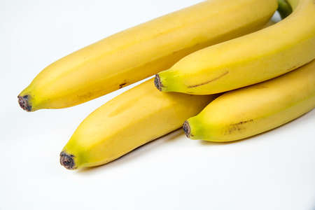 bananas against white background. four things. banana, isolated, white, yellow, healthy,