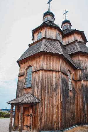 Zaporozhye, Ukraine - 21 April 2018: National Reserve Khortytsia. Protection of the Virgin Church in the centre of the Cossacks - Zaporizhzhya Sich. Wooden structure. Stock Photo