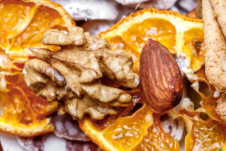 Comparison of two different nuts walnut, almond as still life