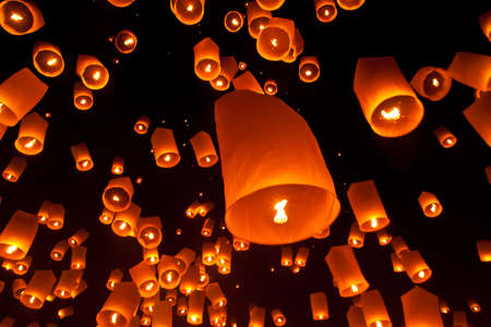 Flying lantern photo