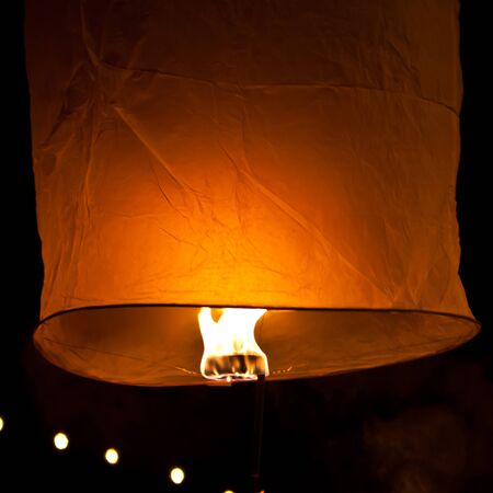 Floating lantern yeepang festival in Chiangmai, Thailand photo
