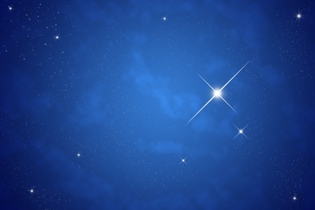 astral: Bright star on dark sky Stock Photo