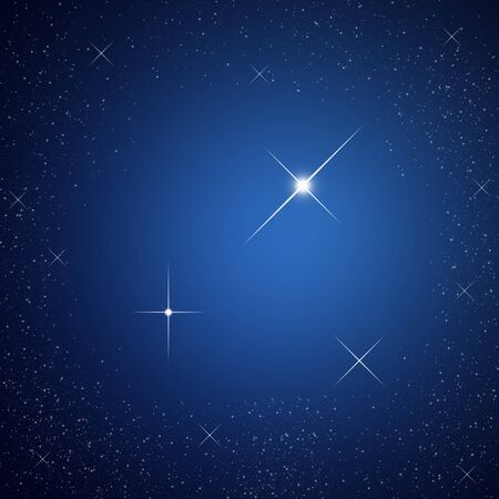 Bright star on dark sky Stock Photo