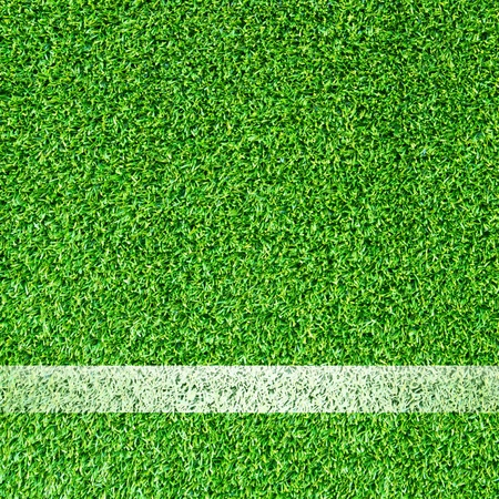 White stripe on the green soccer field  photo