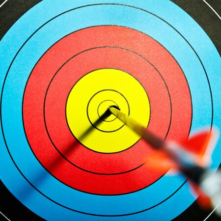 Arrows in archery target photo