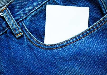 Blank paper in jeans pocket
