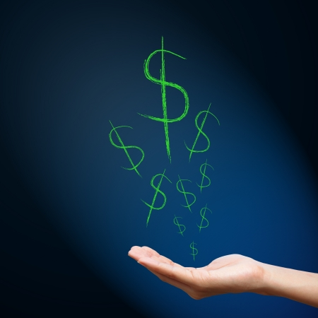 bank deposit: Dollar sign on hand
