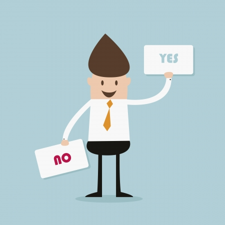 business man and choice yes or no Stock Vector - 19579673