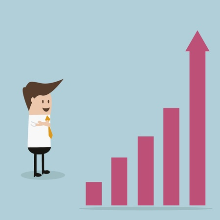 businessman look to chart Vector